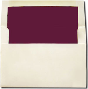 cream with burgundy lined envelopes a7 size a2 size