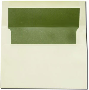 a7 cream with olive green lined envelopes